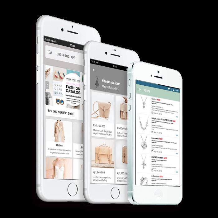 Aplikasi EC adalah aplikasi yang dapat menjual produk dan layanannya menggunakan situs EC yang ditempatkan pada Aplikasi Online Shop.
